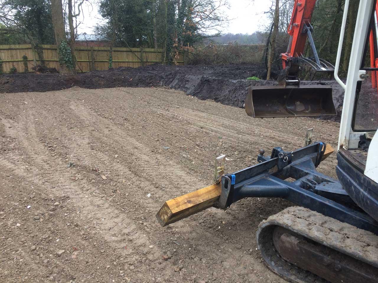 Image of Excavator hire - Car Park Construction Wokingham - Berkshire Hampshire Surrey - Car park driveway construction Holme Grange School Wokingham Berkshire - Let the Digger Do It