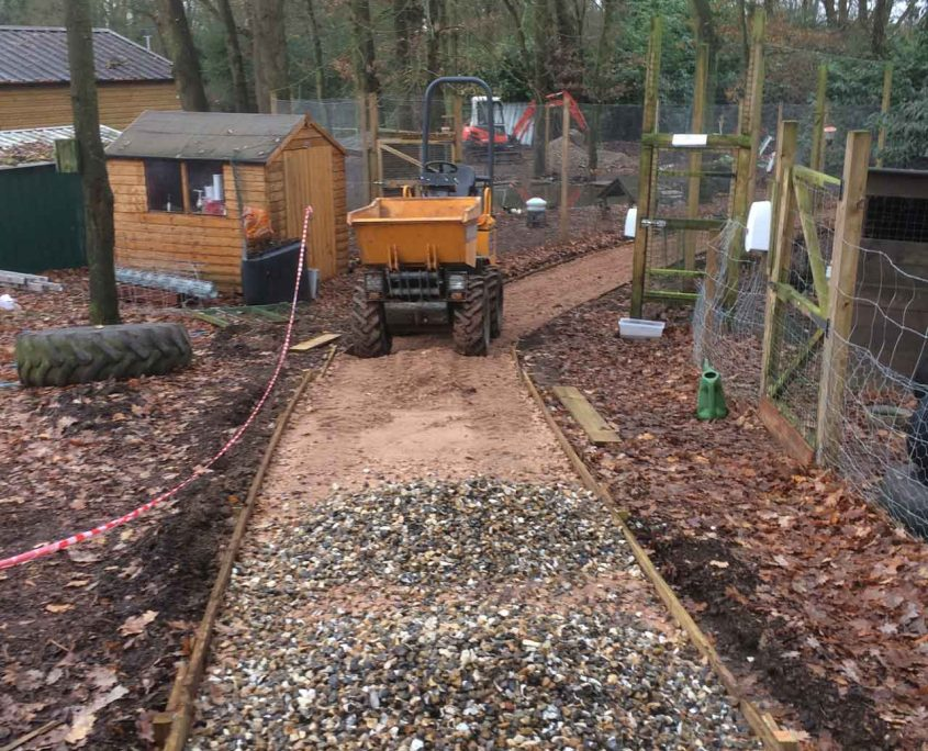 Image of a Skip loader - Digger hire and excavator hire in Berkshire, Hampshire and Surrey - Skip loader at Holme Grange School in Wokingham, Berkshire.
